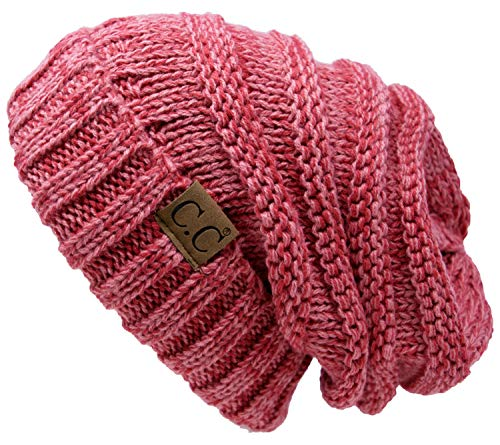Funky Junque H-6100-6285 Oversized Slouchy Beanie - Strawberry - Scarf Hand Crocheted
