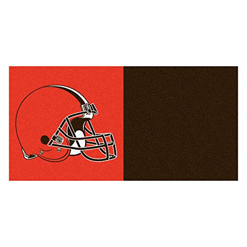 FANMATS NFL Cleveland Browns Nylon Face Team Carpet Tiles