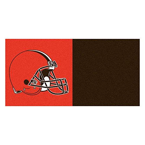 (FANMATS NFL Cleveland Browns Nylon Face Team Carpet Tiles)