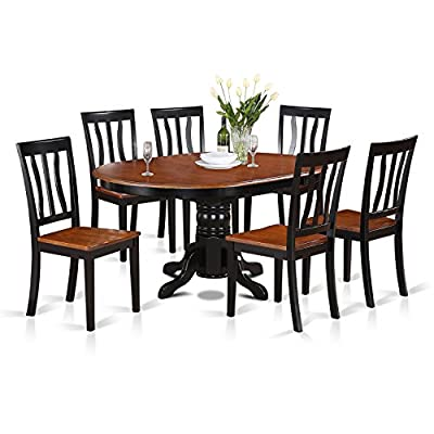 East-West Furniture AVAT7-BLK-W 7-piece dining table set 6 Great kitchen chairs - A Beautiful round kitchen table- Wooden Seat and black and cherry mid-century Butterfly leaf dining table - Offering a lovely Dinette set to boost the magnificence of the dining area with elegant design. This Dinette set includes 6 Wooden dining room chairs and an attractive pedestal dining table that will enhance the attractiveness of any dining room with their classic style. This Kitchen dining table set abilities comfy Wooden seat and Pedestal legs, the structure of these wooden Chairs and the wonderful round wooden table is built from premium quality black and cherry Finish wood, which creates the ideal quality color Combination to give a luxurious gaze to your kitchen. Beautiful Kitchen table set shows the natural attractiveness of Asian hardwood finished into black and cherry Table and chairs, which provides up beauty and formality. This butterfly leaf kitchen table is created from All Asian Hardwood from top to bottom. The Kitchen table set is made of high-quality Asian wood. - kitchen-dining-room-furniture, kitchen-dining-room, dining-sets - 51d%2BpQ5yLZL. SS400  -