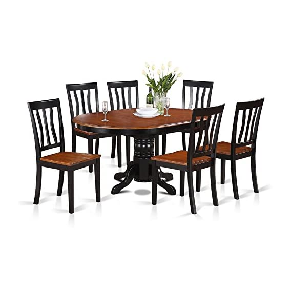 East-West Furniture AVAT7-BLK-W 7-piece dining table set 6 Great kitchen chairs - A Beautiful round kitchen table- Wooden Seat and black and cherry mid-century Butterfly leaf dining table - Offering a lovely Dinette set to boost the magnificence of the dining area with elegant design. This Dinette set includes 6 Wooden dining room chairs and an attractive pedestal dining table that will enhance the attractiveness of any dining room with their classic style. This Kitchen dining table set abilities comfy Wooden seat and Pedestal legs, the structure of these wooden Chairs and the wonderful round wooden table is built from premium quality black and cherry Finish wood, which creates the ideal quality color Combination to give a luxurious gaze to your kitchen. Beautiful Kitchen table set shows the natural attractiveness of Asian hardwood finished into black and cherry Table and chairs, which provides up beauty and formality. This butterfly leaf kitchen table is created from All Asian Hardwood from top to bottom. The Kitchen table set is made of high-quality Asian wood. - kitchen-dining-room-furniture, kitchen-dining-room, dining-sets - 51d%2BpQ5yLZL. SS570  -