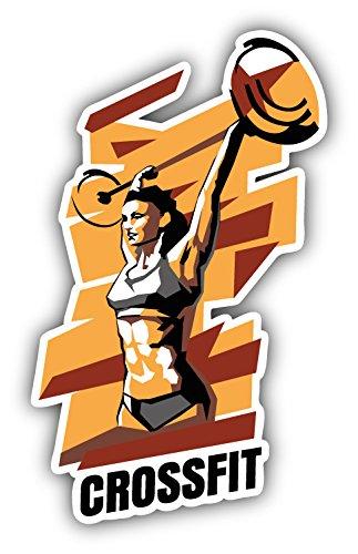 - novland Crossfit Woman Sport Car Bumper Sticker Decal 3'' x 5''