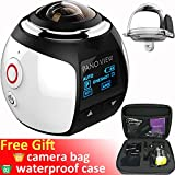 GBD Wireless 360 Degree Panoramic Camera 3D VR Live Video Full View Action Sports Camera with WiFi Waterproof 16MP 4K HD 0.96inch Screen 30fps 230° Large Lens Mini DV Player (Pure White)