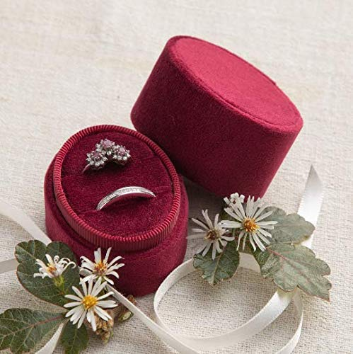 Velvet Ring Red (Velvet Ring Box Merlot Dark Red, Oval 2-Ring Shape, Engagement Ring Box, Ring Bearer Box, Wedding Ring Box, Wedding Photo Shoot, Engagement Photo Shoot, Bridal Gift)