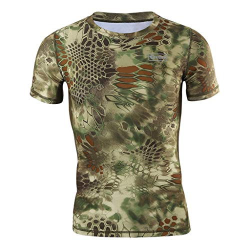LUCAMORE Men's Compression Snake Printed T-Shirts Crewneck Short-Sleeve Fast Drying Workout Top Sports Tee Green