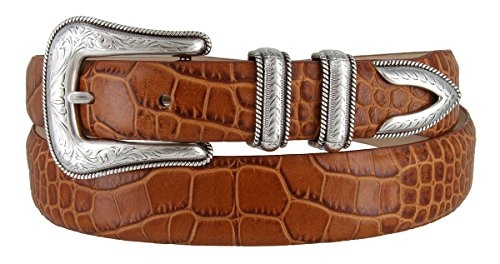 (Brenton - Men's Italian Calfskin Designer Dress Golf Belt with Western Silver Plated Buckle Set (38 Alligator Tan))