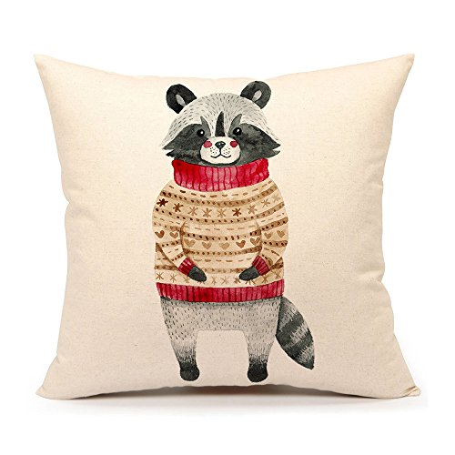 Winter Holidy Animal Raccoon Throw Pillow Cover Cushion Case 18 x 18 Inch Cotton Linen Christmas Home Decoration