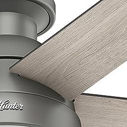 Hunter 59270 Anslee Low Profile Matte Silver Ceiling Fan With Light, 46\