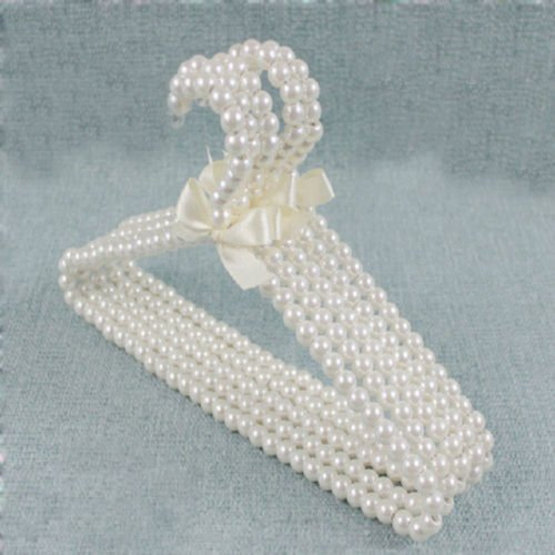 VIPASNAM-Clothes Hangers Kid Children Bow Pearl Beaded White Plastic 1 Pc Fashion