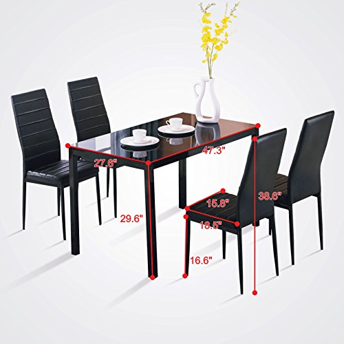 5 Piece set 4 chairs dining table glass metal kitchen room breakfast furniture modern dining room (Mid Patio Century Wrought Furniture Iron)
