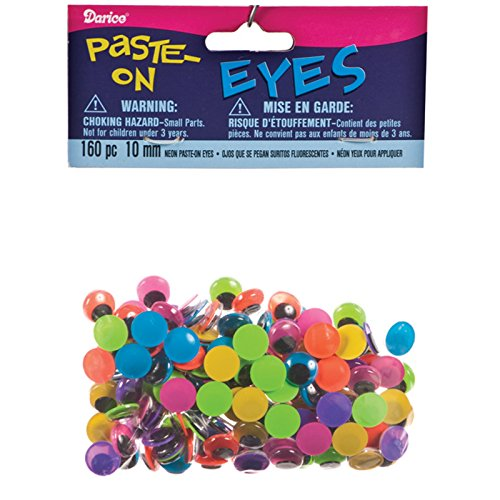 Googly Eyes by Darice Paste-On 10 mm Neon Multi 160 pc. 5110-C
