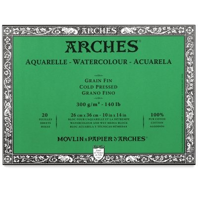 Arches 200177170 Watercolor Block Cold Press, 12X16-Inch, 20 Sheets