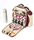 Greenfield Collection Super Deluxe Mulberry Red Picnic Backpack Hamper for Four People