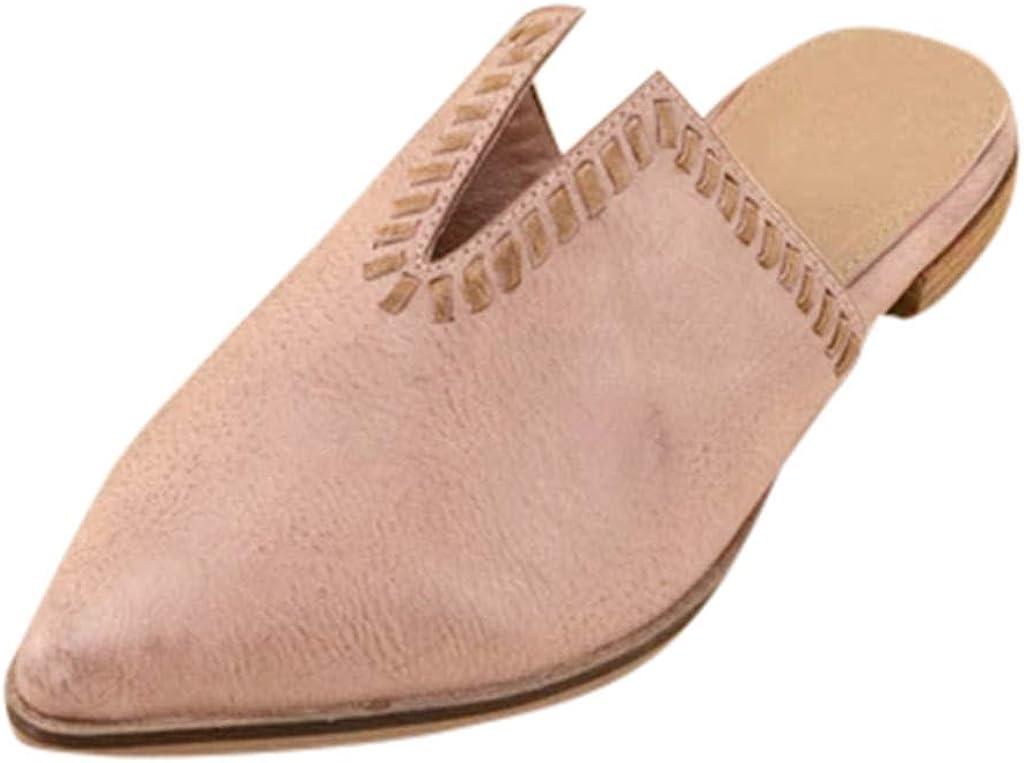 TUDUZ Chanclas para Mujer Zapatillas De Estar por Casa Zapatos Sandalias De Punta Puntiaguda Zuecos Mules Transpirable