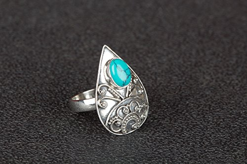 3 Stone Designer Ring - Turquoise Ring.Sterling Silver Ring.Eye Catching Ring.Hypoallergenic Ring.Tear Drop Ring.Designer Silver Ring. Minimalist Stone Ring.Beautiful Turquoise Ring.US Ring Size 3-15 (Standard),Gift