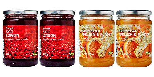 Ikea Organic Jam Bundle - Includes Total 4 Preserves - 2 SYLT LINGON Lingonberry Organic Preserves and and 2 MARMELAD APELSIN & FLÄDER Orange & elderflower organic Marmalade. by IKEA
