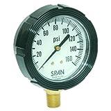 "SPAN LFS-210-30Hg/300PSI-G-CERT Series LFS-210 NIST Certified Liquid Filled Pressure Gauge with Pulsation Restrictor, 30"" Hg Vac to 300 PSI Pressure Range"