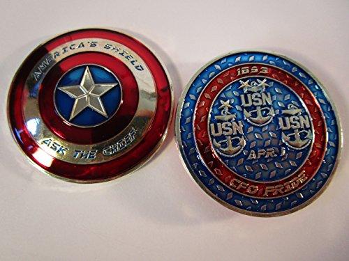 Captain America Shield Ask The Chief CPO Navy Chief Challenge - Challenge Coin Captain