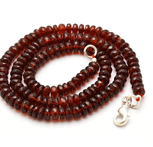 GemAbyss Beads Gemstone 1 Strand Natural 16 Inches Strands, Natural Super Large Brown Hessonite Garnet Faceted Roundels Beads.Necklace 5 to 5.5 mm Code-MVG-28326
