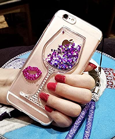 iPhone SE Glitter Case, iPhone 5/5s Case, Black Lemon Goblet Wine Glass Liquid Quicksand Flowing Floating Bling Glitter Sexy Makeup Case for Girls with Wrist Strap (Rubber Iphone 5s Cases Disney)