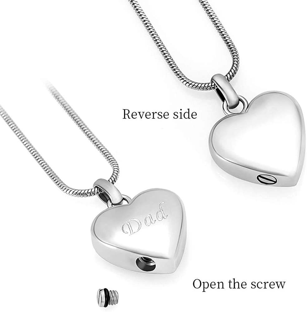 Heart Shape Urn Pendants Memorial Ash Necklace Stainless Steel Cremation Jewelry