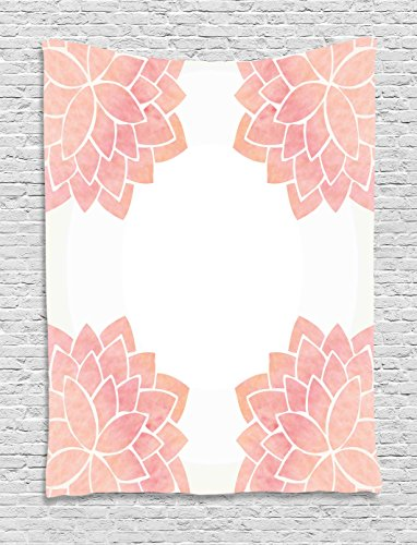 Flora Tapestry Wall Hanging - Ambesonne Floral Tapestry, Watercolor Petals Lotus Flower Meditation Yoga Spiritual Flora Beauty Artwork, Wall Hanging for Bedroom Living Room Dorm, 40WX60L Inches, Coral Light Pink