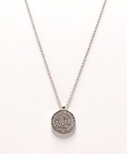 Sterling Silver 925 Necklace with Full Pave Disc Charm in the Middle on Clear Cubic Zircons