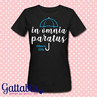 T-shirt donna nera In omnia paratus, Gilmore Girls, Una Mamma per Amica inspired, serie tv