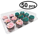 Katgely Clear Plastic 12 Cupcake Container Case of 50