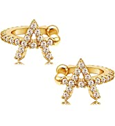 CHESKY Initial Ear Cuff Earrings 18K Gold Plated Cubic Zirconia Alphabet Initials A-Z 26 Letter S...