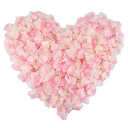 DECORA 1000 Pieces Silk Rose Flower Petals for Wedding Confetti and Party Decoration(Pink Plus White)