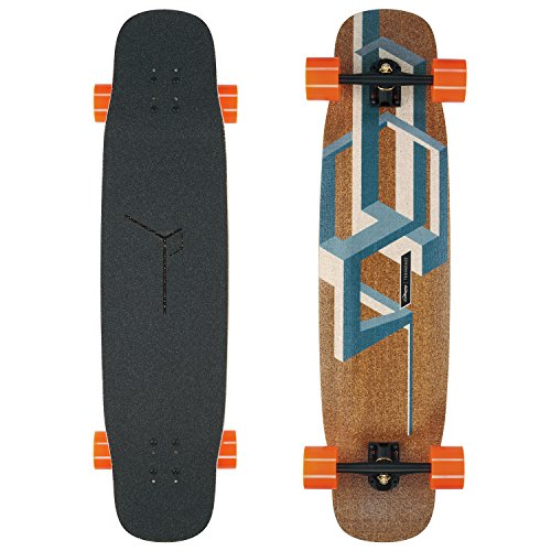 Loaded Boards Basalt Tesseract Bamboo Longboard Skateboard Complete (Dark Blue, 80a In Heat wheels)