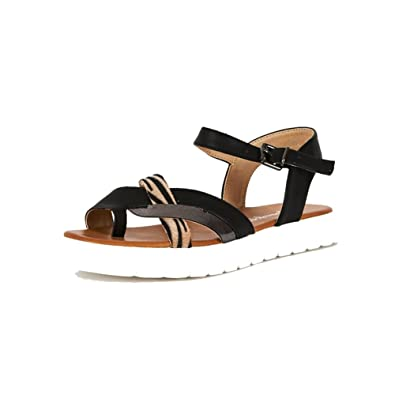 7b235d2c026 Black Flat Sandals with White Cleated Sole and Tiger Print Strap  Amazon.co. uk  Shoes   Bags