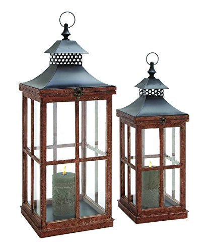 Benzara Ethnic and Traditional Design Wood Metal Glass Lantern, Set of 2 by Benzara