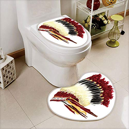 (iPrint 2 pcs Toilet Cover Set Non-Slip mat Bathroom Non-Slip mat,Symbolic Mystic Eagle Feather Headdress Indian,3D Print Heart Shape Toilet seat Cushion Customized Fashion)