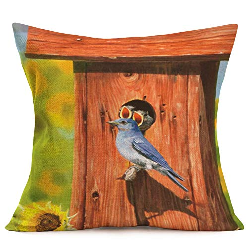 - ShareJ Bluebird Stands on a Wooden Stake Pattern Cotton Linen Square Decorative Throw Pillow Case Vintage Style for Home Sofa Decor Cushion Cover 18