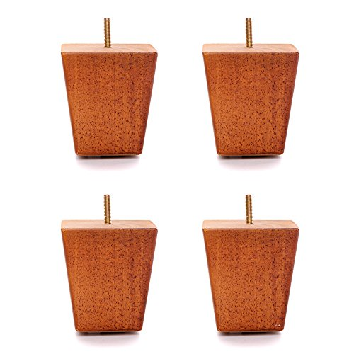 "4"" Medium Oak Finish Square Tapered Pyramid Wooden Sofa Legs, Set of 4"