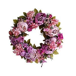Yokoke Peony Wreath Rose Floral Twig Wreath 16 Inch Handmade Vintage Artificial Flowers Garland Front Door Wreath Beautiful Silk For Spring And Summer Wreath Display 6
