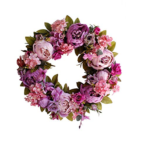 Yokoke Peony Wreath Rose Floral Twig Wreath 16 Inch Handmade Vintage Artificial Flowers Garland Front Door Wreath Beautiful Silk For Spring And Summer Wreath Display (purple)