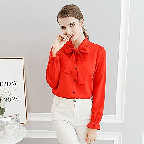 XXIN Camisa Camisa Manga Larga Blusa para Mujer Hembra Suelta Long-Sleeved Camiseta Camiseta, Rojo,M: Amazon.es: Deportes y aire libre