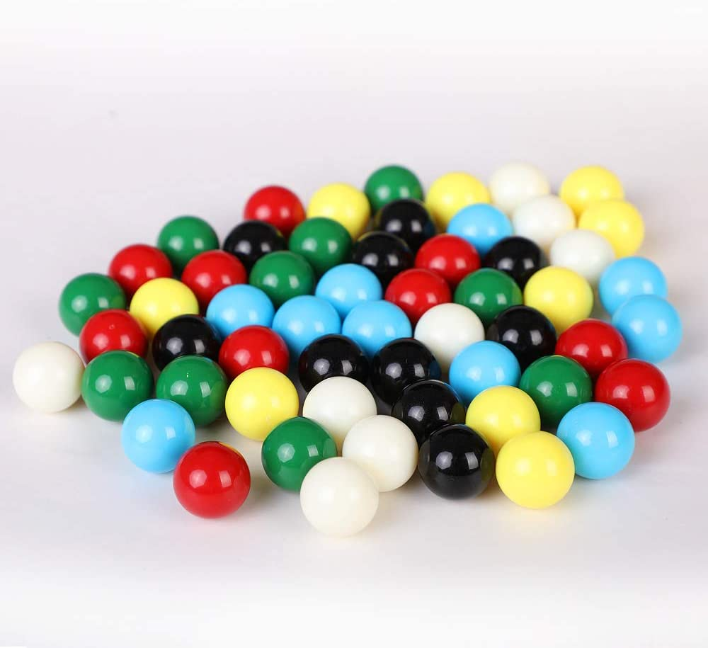 6 Colors Ailebens 14mm Game Replacement Marbles,60pcs Solid Color Game Balls for Chinese Checkers,Aggravation Game,Marble Run,Marble Games