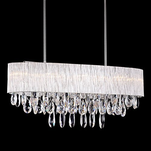Pendant Light in Oval Ribbed Glass Tube Shade, (32
