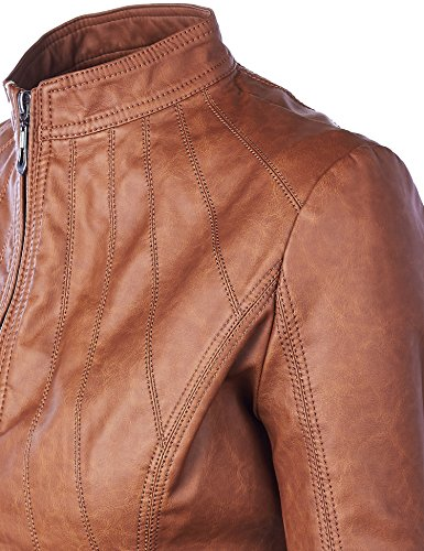 WJC877 Womens Panelled Faux Leather Moto Jacket L Camel