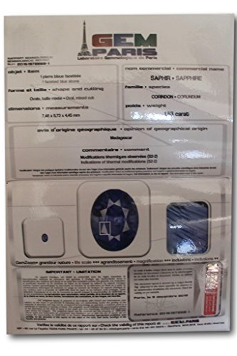 Saphir véritable de Madagascar de 1,53 carat 7,4 x 5,7 x 4,4 mm - certificat de laboratoire