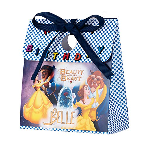 Personalized Treat Bags for Kids | 12 Mini Treat Boxes Per Pack | Beauty and The Beast Themed | Customized Happy Birthday Party Favors for Boys & Girls | Fill with Your Treats & Gifts ()