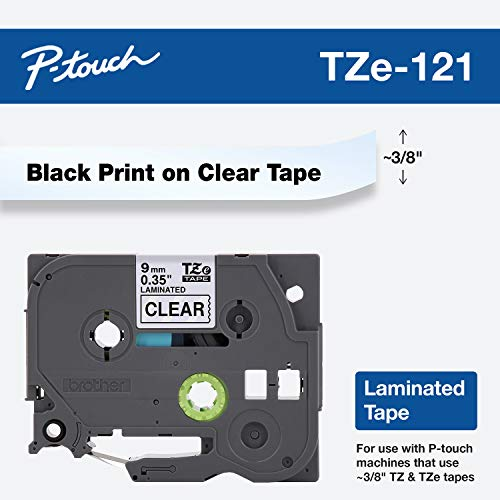 Brother Genuine P-Touch TZE-121 Tape, 9 mm (0.35) Standard Laminated P-Touch Tape, Black on Clear, Laminated for Indoor or Outdoor Use, Water-Resistant, 26.2 ft (8 m), Single-Pack