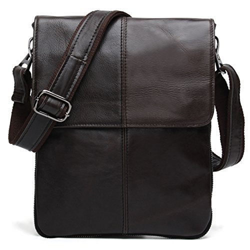 BAIGIO Small Leather Messenger Bag Casual Satchel Shoulder Bag Vintage Purse (Retro Brown)