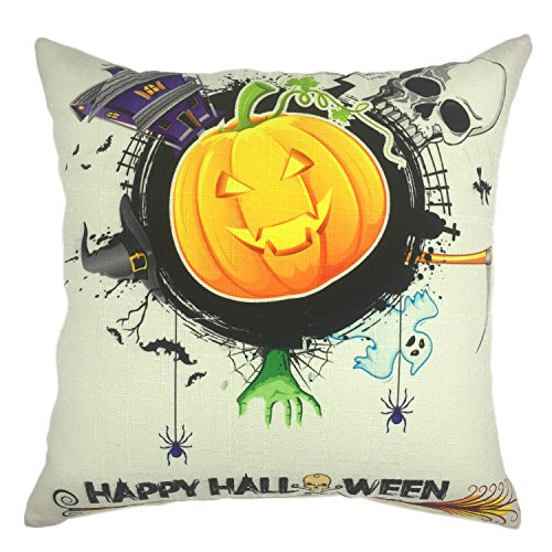 YOUR SMILE Pumpkin Cotton Linen Square Decorative Throw Pillow Case Cushion Cover 18x18 Inch(45CM45CM) (Halloween 3)]()