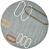 Safavieh Soho Collection SOH801B Handmade Modern Abstract Blue and Multi Premium Wool Round Area Rug (6′ Diameter)