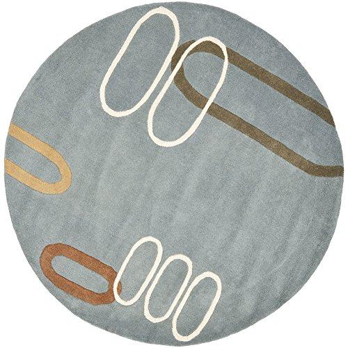 Safavieh Soho Collection SOH801B Handmade Modern Abstract Blue and Multi Premium Wool Round Area Rug (6' Diameter) ()